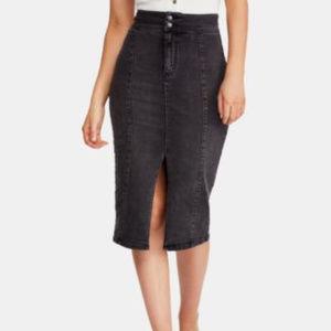 Free People Maddie Denim Midi Skirt Black 27R